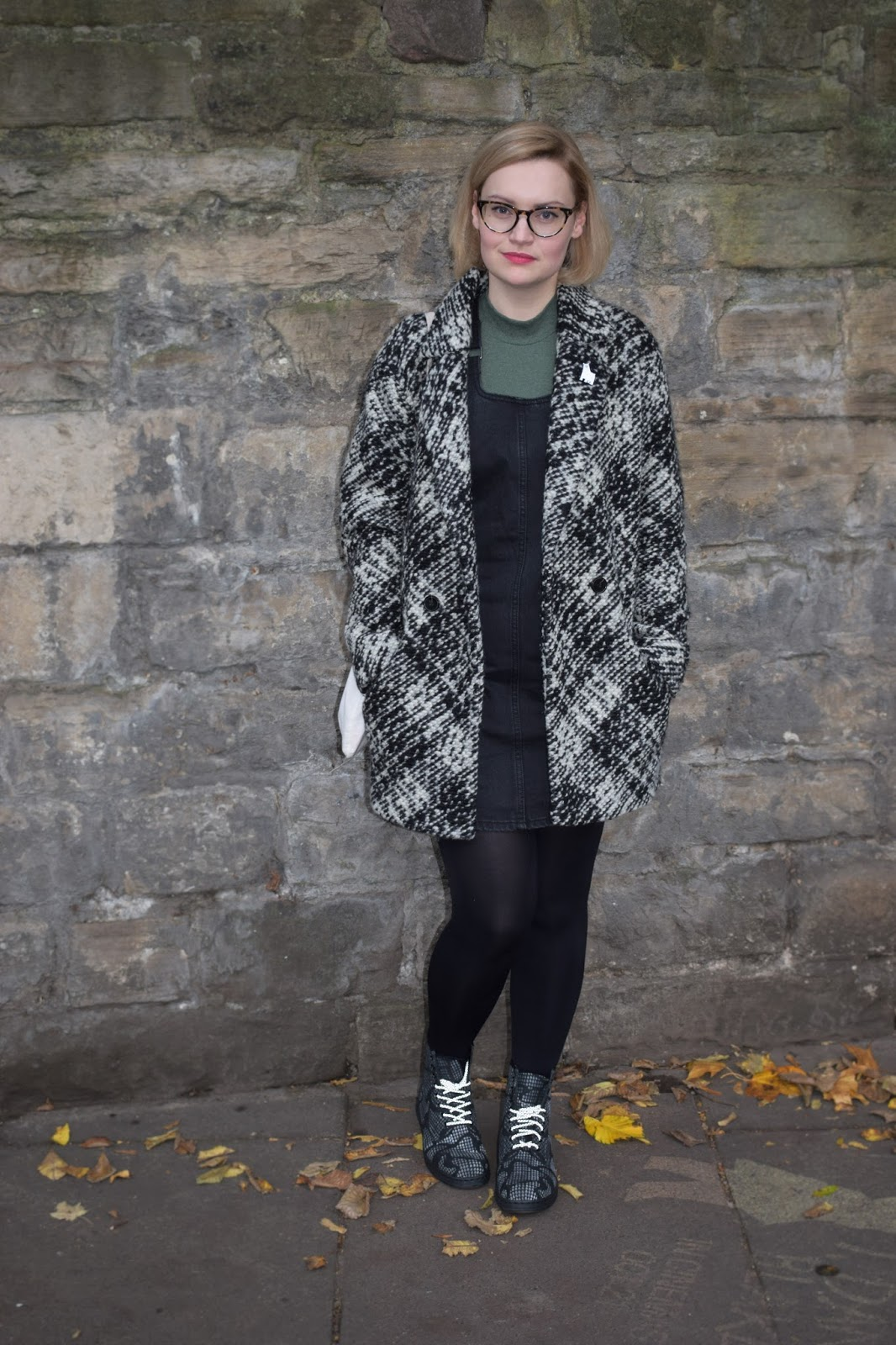 Dr Martens Newton reflective boots, Scottish winter style, Halloween collection, denim pinafore trend, Scottish style blogger, UK fashion trends, dressing for cold weather in Scotland, Urban Outfitters black and white jacket, monochrome minimal style