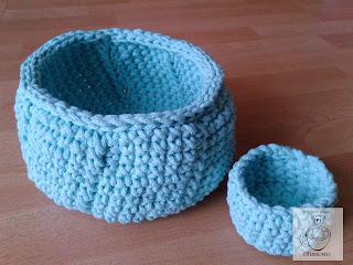 Miętowe koszyki ze sznurka bawełnianego - Ofuniowo