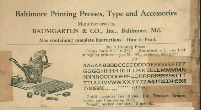 period newspaper ad for Baltimore #9 printing press
