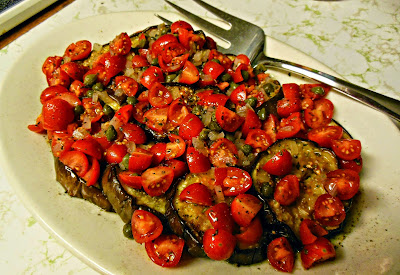 Grilled Eggplant with a Tomato Caper Vinaigrette. Can be served warm or chilled.