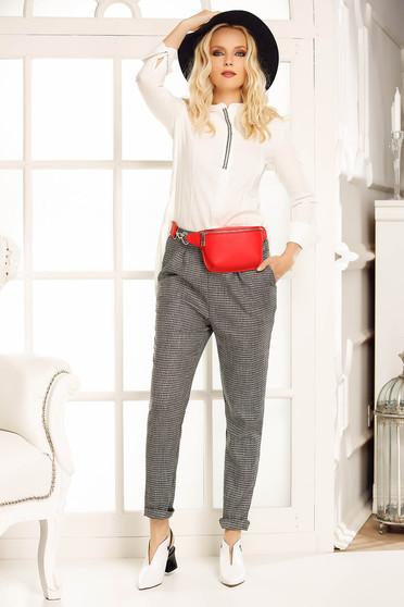 Pantaloni gri office conici cu talie medie din stofa usor elastica cu buzunare