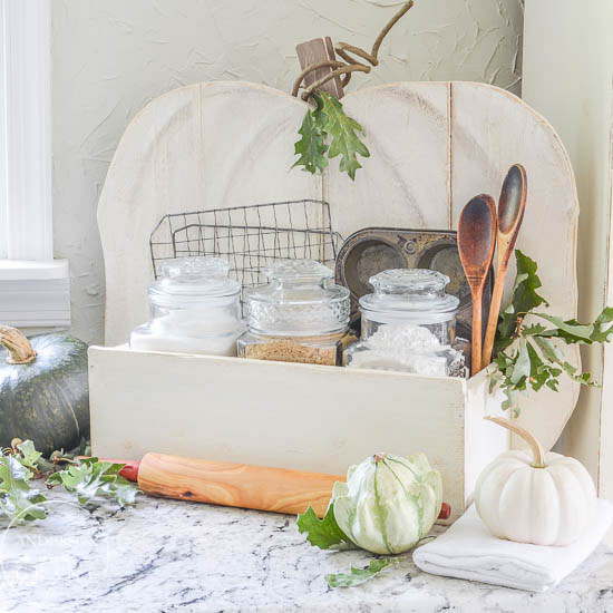 Rustic pumpkin baking station in the kitchen.....unique way to store your fall baking supplies!  |  www.andersonandgrant.com