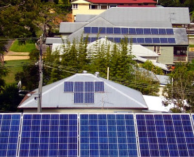 solar power on several houses in a street