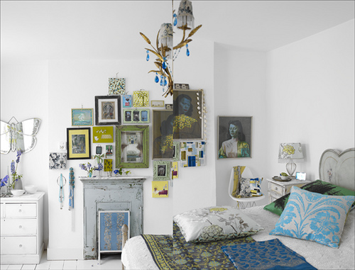 turquoise eclectic bedroom