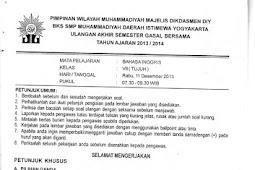 Soal UAS Bahasa Inggris SMP Kelas 7 Semester 1 BKS Muhammadiyah DIY