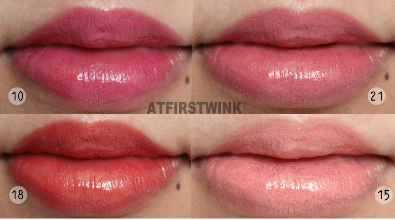 Peripera lipsticks 10, 15, 18, and 21 lip swatches orange red pink fuchsia