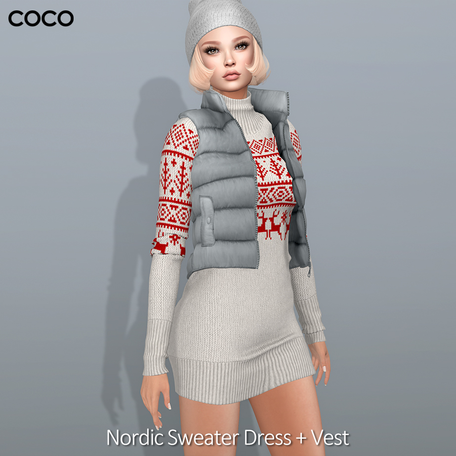 75c1a562bd1  Available to wear the Nordic Sweater Dress and the Puffer Vest