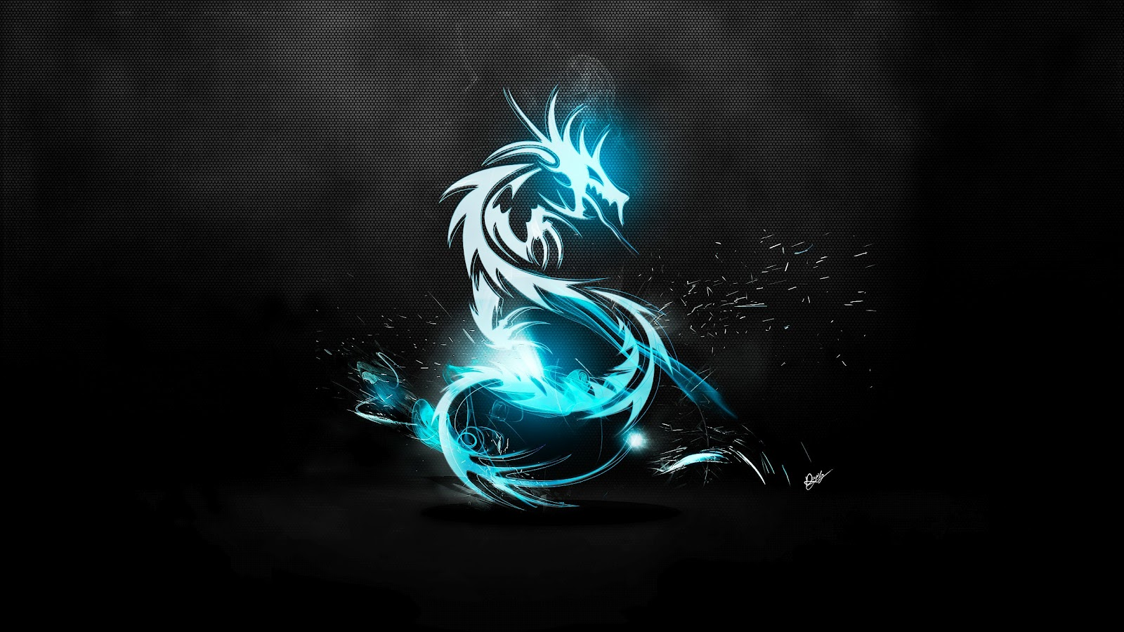 Neon Wallpapers for Android - Blue Neon Dragon Wallpaper
