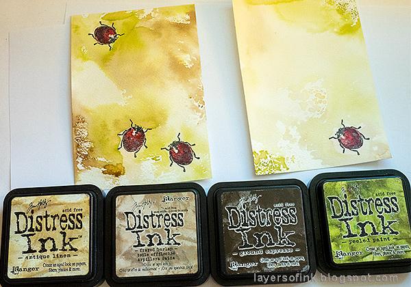 Layers of ink - DIY Ladybug Notebook Tutorial by Anna-Karin Evaldsson