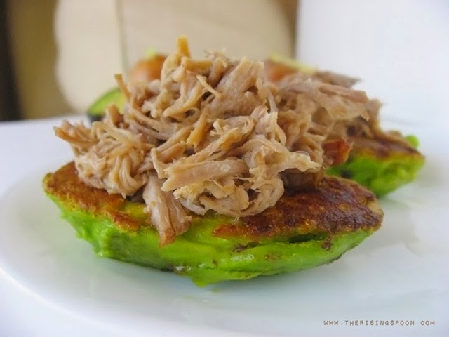 Pan-Fried Avocados Stuffed with Pulled Pork