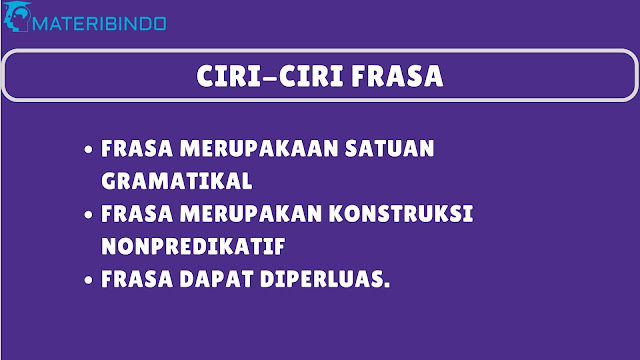 Ciri-ciri Frasa