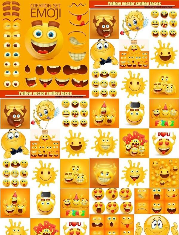 فيكتورvector  | فيكتور ايموشنات واوجه وابتسامات متنوعة للتصميم / Yellow vector smily faces