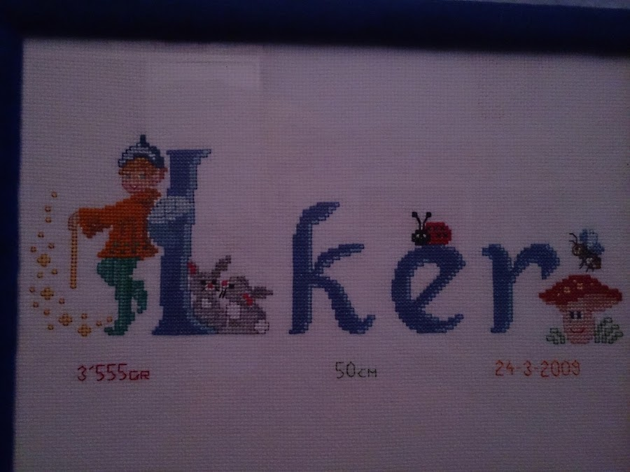 cuadro Iker punto de cruz