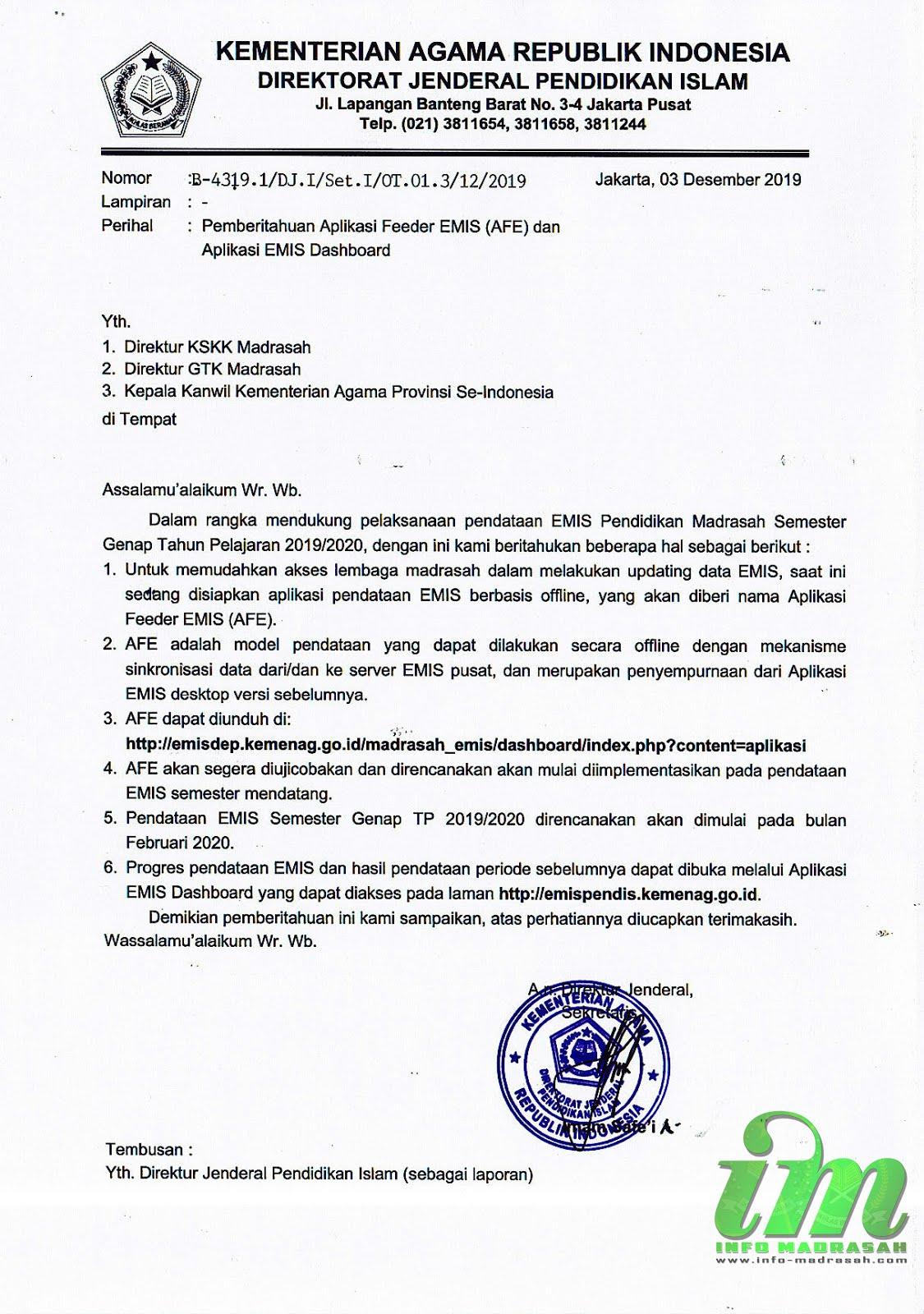 Emis Manajemen Un Ma : manajemen, Surat, Pemberitahuan, Aplikasi, Feeder, (AFE), Dashboard, Madrasah