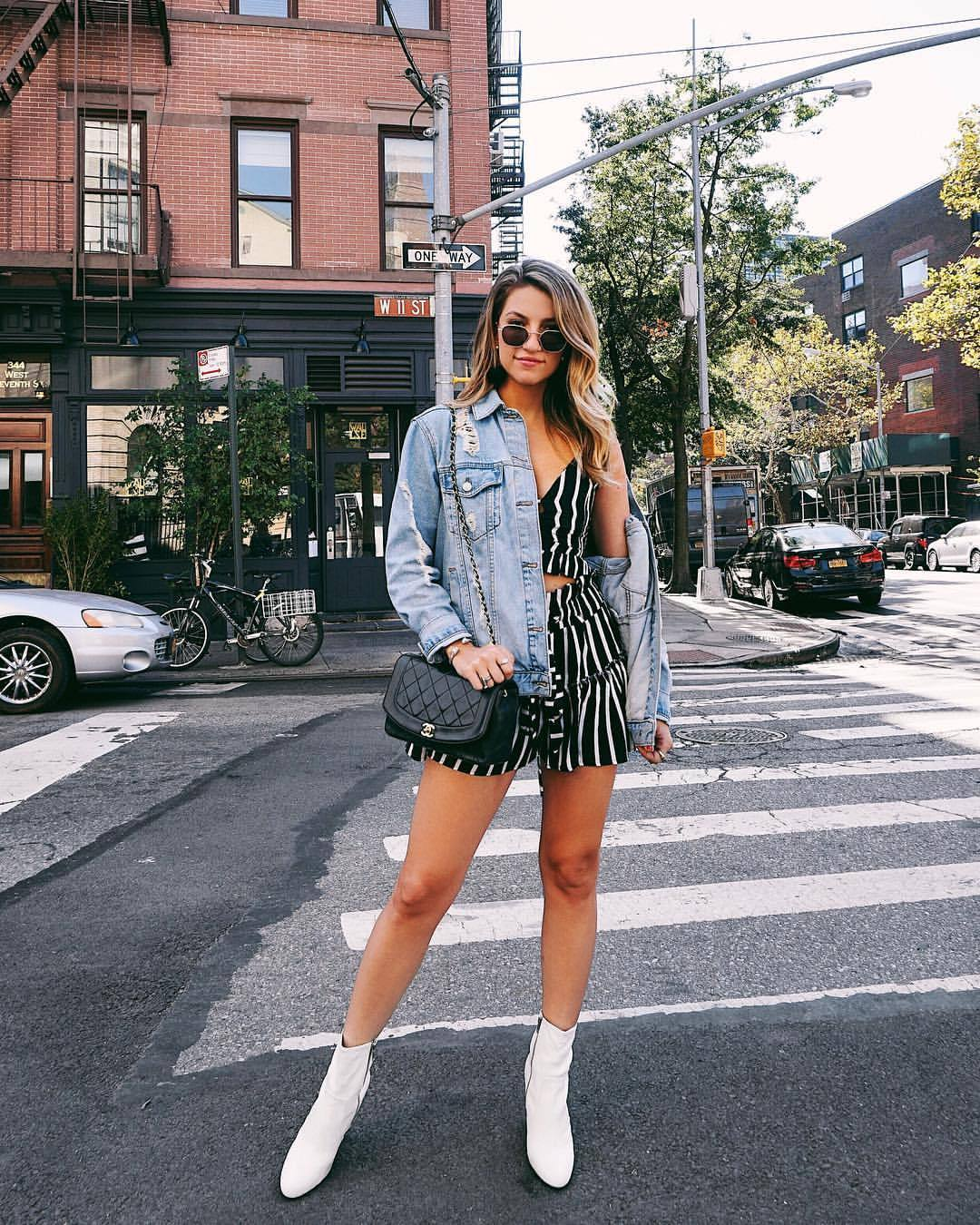 Cassandra DiMicco, Cass DiMicco, Dressed For Dreams, NYC, New York City, New York, Street Style NYC, Street Style 2017, Street Style Outfits, fashion trends 2017, distressed denim jacket, steve madden booties, planet blue nyc, ray-ban womens, vintage chanel, chanel bags