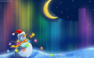 Snowman with Moon wallpaper