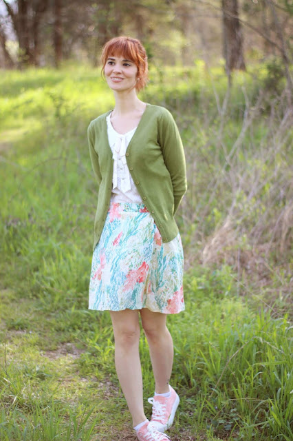 eb75387b962 ... so I brought it home along with this Anthropologie top and some peachy  kicks. More looks with this skirt are on the way