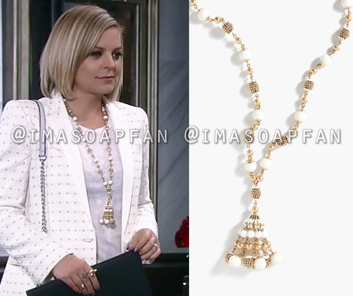 Maxie Jones, Kirsten Storms, White and Gold Beaded Necklace, General Hospital, GH
