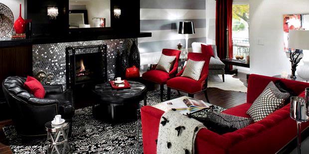 Desain Ruangan Ini Memilih Skema Perpaduan Antara Warna Retro Yang Meliputi Hitam Putih Lembut Serta Merah Menyala Dengan Kilau Sentuhan