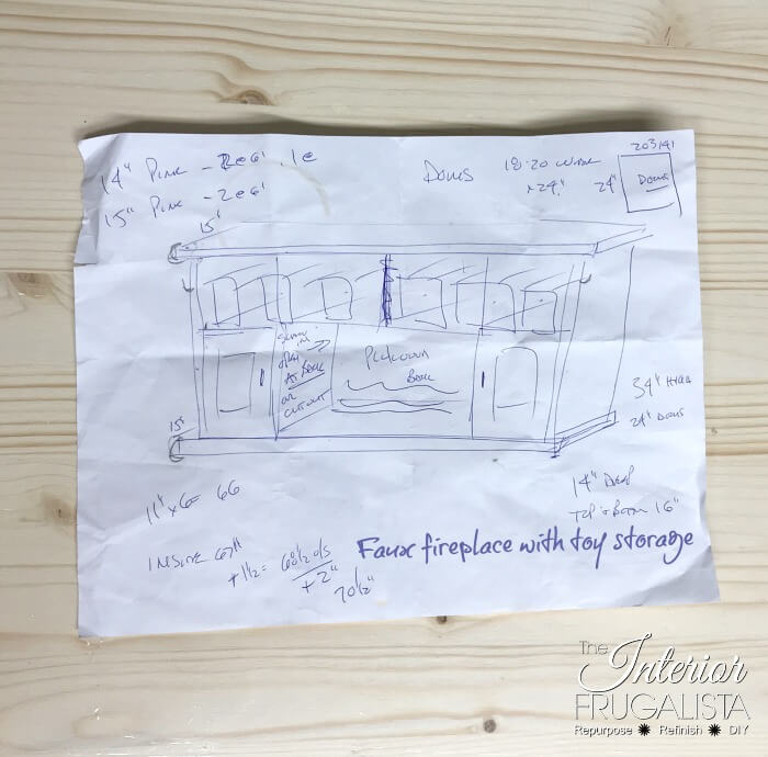 DIY Faux Fireplace With Hidden Toy Storage Rough Sketch