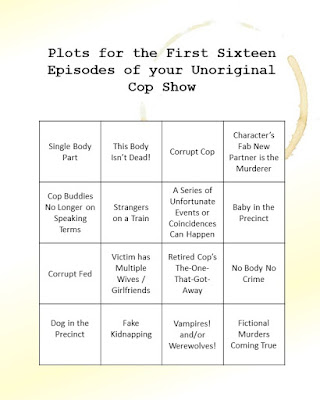 The image consists of a table with the following plot types: single body part; this body isn't dead; corrupt cop; character's fab new partner is the murderer; cop buddies no longer on speaking terms; strangers on a train; a series of unfortunate events or coincidences can happen; baby in the precinct; corrupt fed; victim has multiple wives / girlfriends; retired cop's the-one-that-got-away; no body no crime; dog in the precinct; fake kidnapping; vampires! and/or werewolves!; fictional murders coming true.