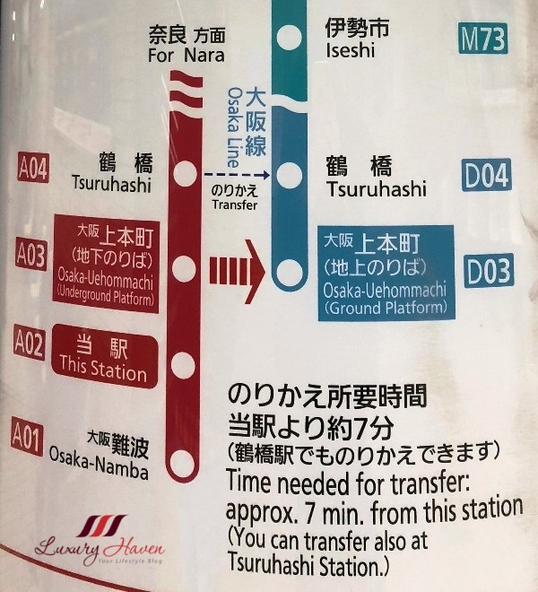 osaka namba to nara train map