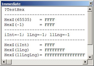 Test funkcji Hex
