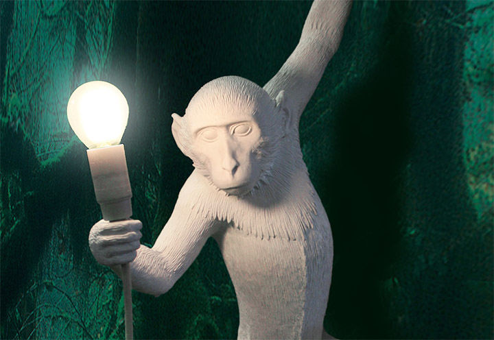 Monkey Holding Lamps | Spicytec