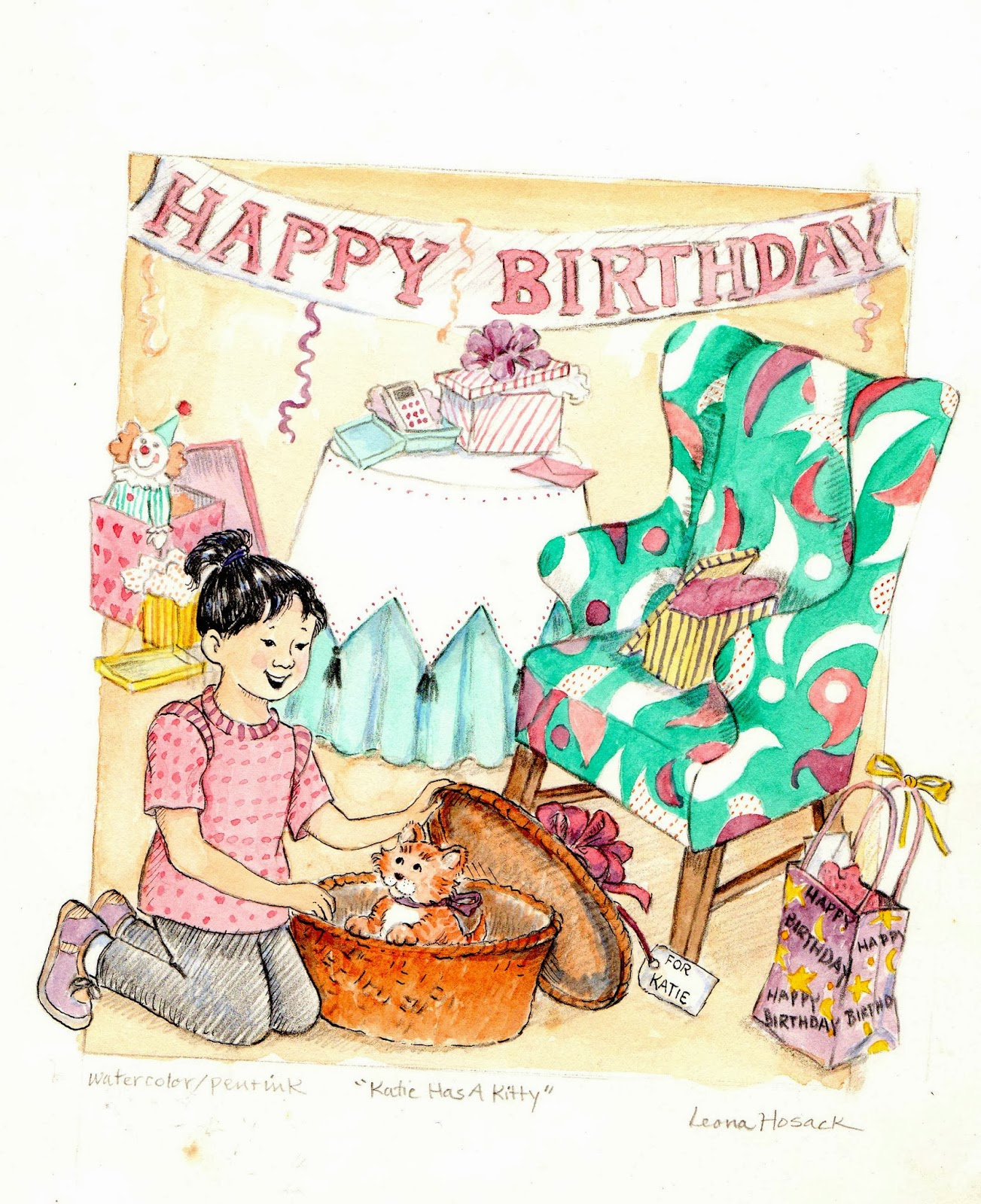 gifts, birthday party, kittens, multicultural,illustration, children's art
