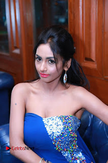 Actress Pooja Sree Pictures in Blue Long Dress at Chocolate Boy Friendship Day Event  0058.JPG
