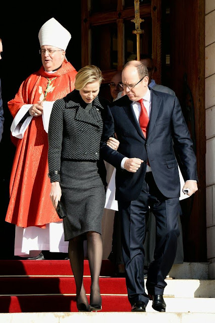 Prince Albert and Princess Charlene attended the Sainte-Devote ceremony in Monaco.