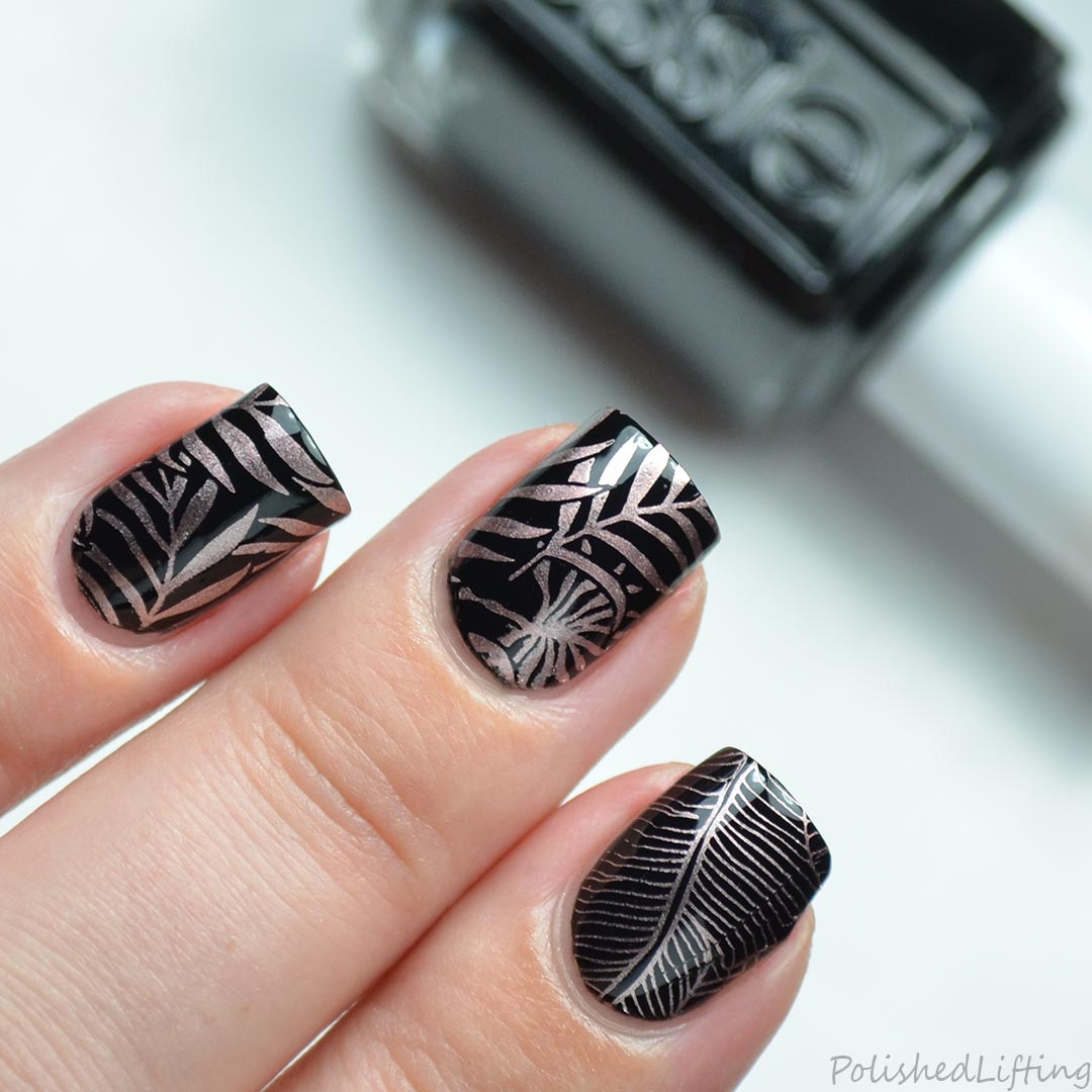 Polished Lifting: Metallic Tropical Leaves featuring Essie Copper ...