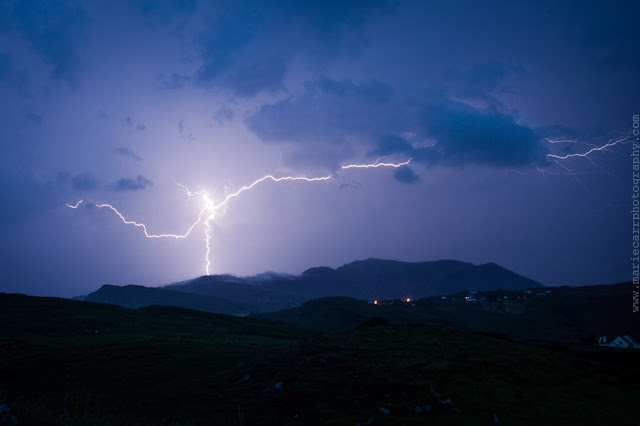 A bolt of Lightning striking Sliabh Liag (Slieve League) mountain during a thunderstorm