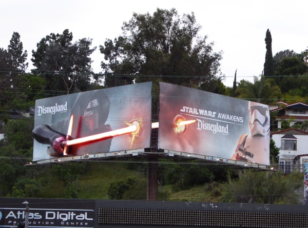 Disneyland Star Wars Awakens Kylo Ren 3D lightsaber billboard installation