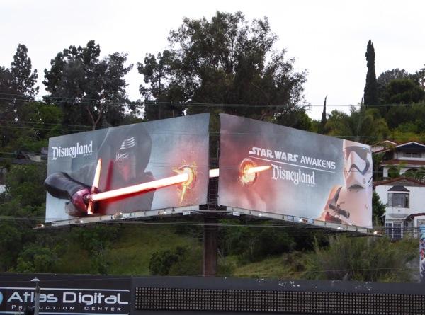Disneyland Star Wars Awakens Kylo Ren 3D lightsaber billboard installation