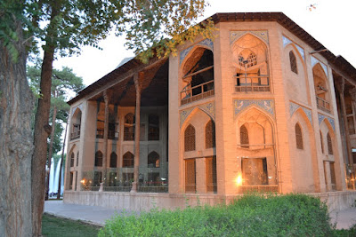 The Hasht Behesht palace is an octagonal two story building which consists of a room with a central dome, four lateral iwanes and adjacent rooms on the four diagonal axes.