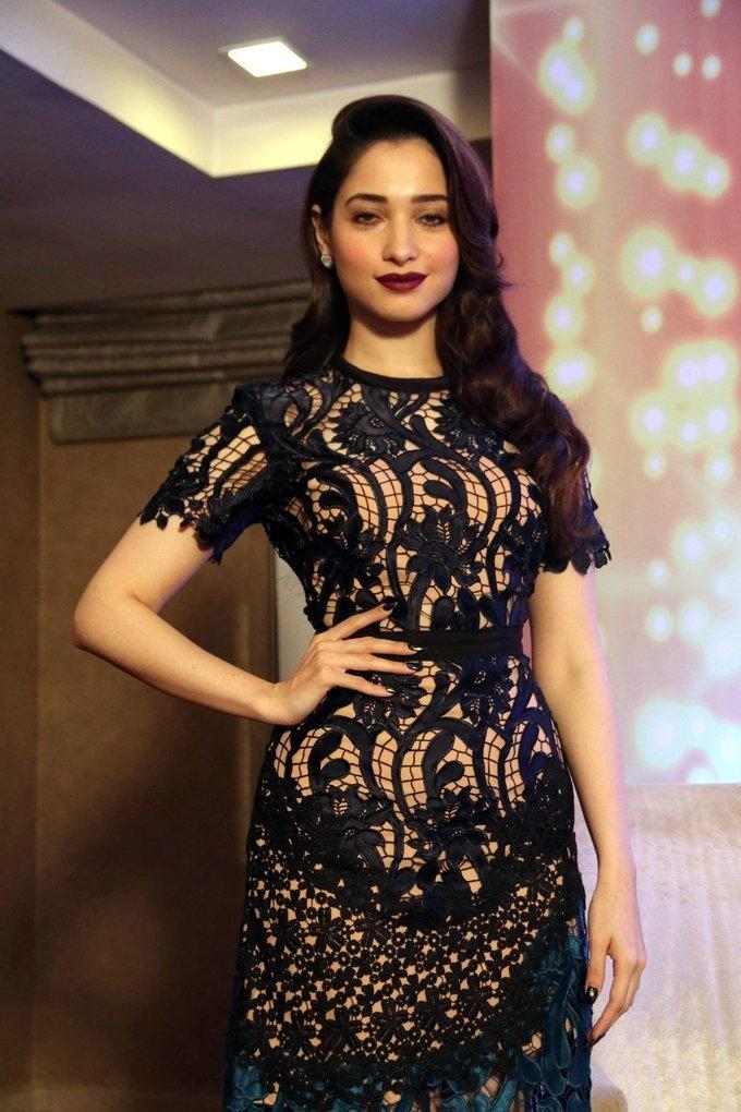 Tamil Actress Tamannaah 2017 Hot Images In Black Dress