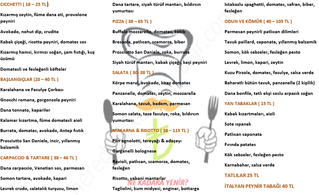 cecconi's istanbul menü fiyat listesi