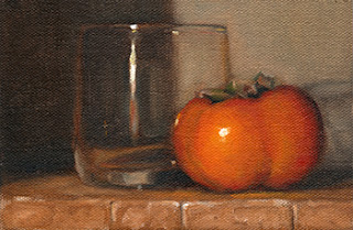 Oil painting of a persimmon beside an Old Fashioned glass.