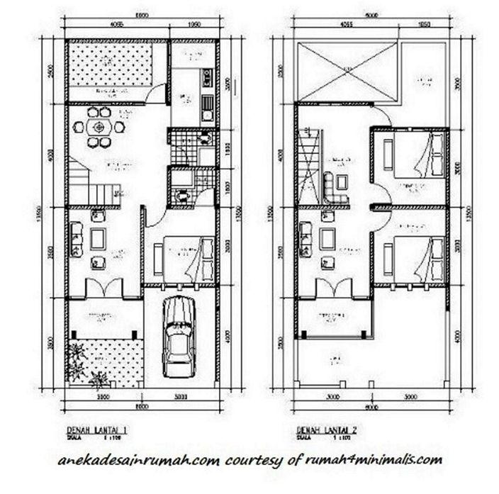 denah rumah minimalis 2 lantai menarik