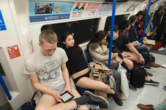 Hundreds of half-naked Londoners on Sunday participated in the annual No Trousers On The Tube Day