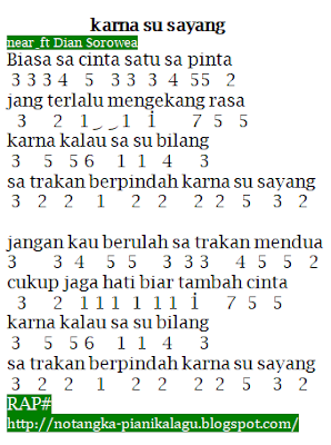 Not Angka Lagu Karna Su Sayang near feat Dian Sorowea Not Angka Lagu Karna Su Sayang near feat Dian Sorowea