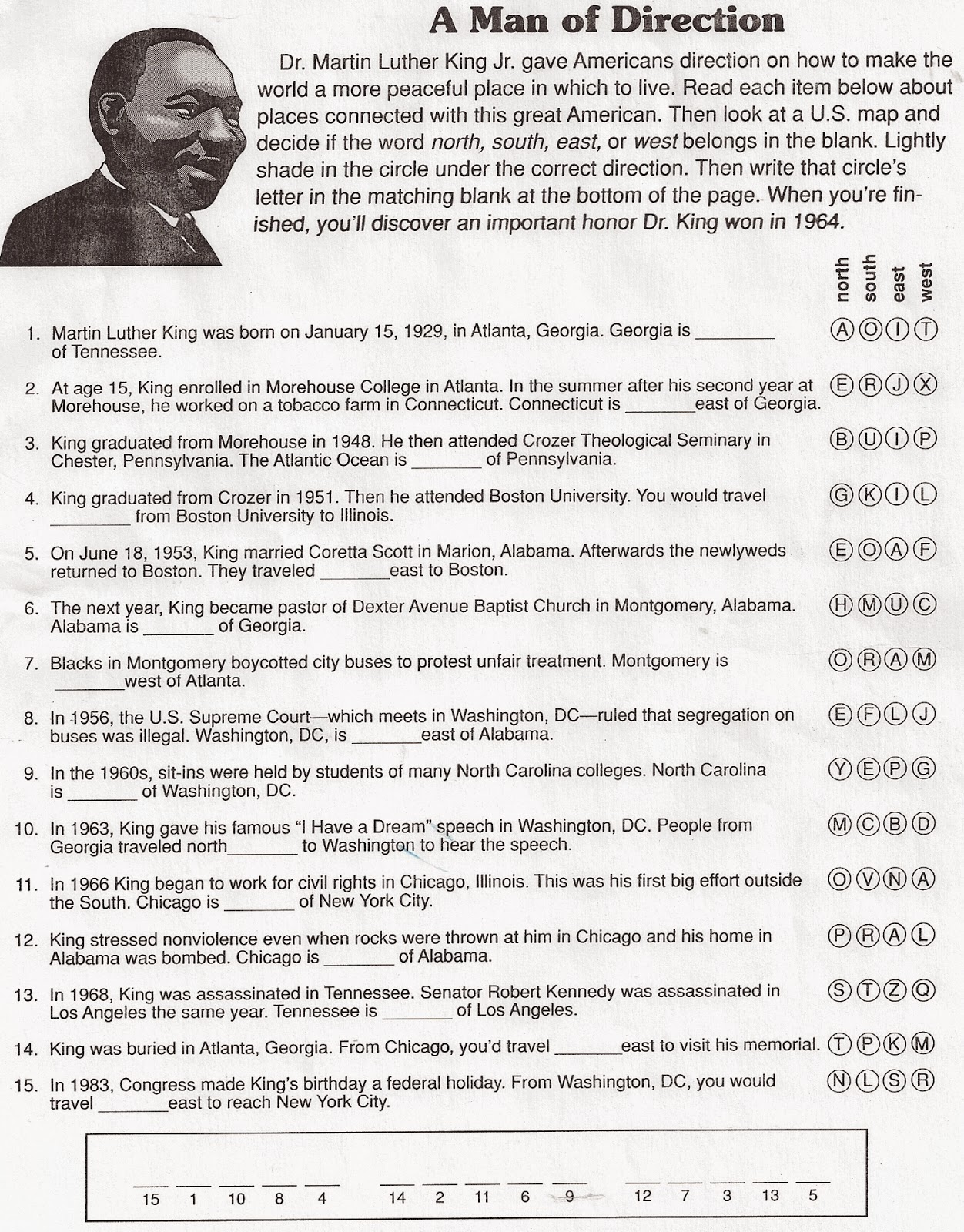 What are five issues mentioned in Martin Luther King's