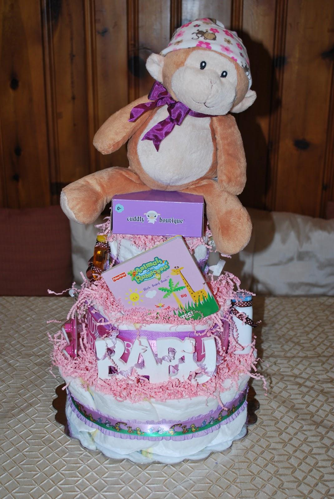 Becca S Custom Diaper Cakes Baby Girl 3 Tier Diaper Cake