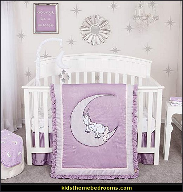 Unicorn Dreams baby crib bedding  Nursery Rhyme themed nursery decorating - Moon stars twinkle twinkle baby nursery decorating ideas -  storybook bedrooms - counting sheep baby bedroom ideas Humpty Dumpty decor - Mother Goose - moon stars baby bedding - Moon and Stars themed nursery - Nursery Rhymes wall murals - celestial themed baby nursery - moon stars wall stickers - stars clouds wall decals - moon stars baby bedroom ideas - moon stars nursery decor