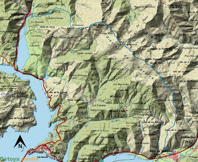 Mapa ign de la ruta señalizada a la Sierra de Hormas
