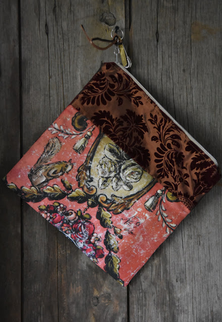 velvet trimmed pochette art at home collection