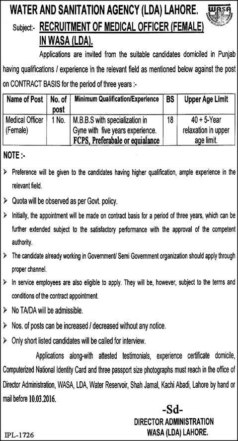 WMO Jobs in WASA (LDA) Lahore Female Doctor Job