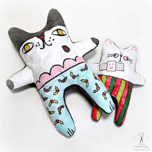 Stamped and Colored Stocking Stuffies for Christmas by Dana Tatar for Paper Wings Productions