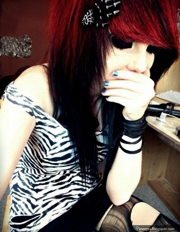 You hard Black emo girl with red hair